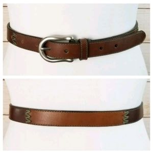 Dockers S 2-Tone Brown Tan Leather Belt Stitching